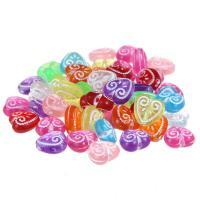 Silberdruck Acrylperlen, Acryl, Herz, gemischte Farben, 12mm, Bohrung:ca. 1mm, 100PCs/Tasche, verkauft von Tasche