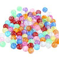 Transparente Acryl-Perlen, Acryl, Blume, gemischte Farben, 8mm, Bohrung:ca. 3-4mm, 100PCs/Tasche, verkauft von Tasche