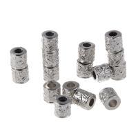Verkupfertes Kunststoff-Perlen, Verkupferter Kunststoff, Zylinder, Platinfarbe platiniert, 7x8mm, Bohrung:ca. 1-2mm, 100PCs/Tasche, verkauft von Tasche