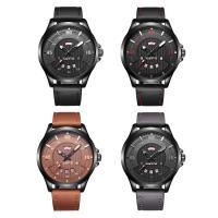 RISTOS® Uhrenkollektion, PU Leder, mit Glas & Edelstahl, schwärzen, einstellbar & für den Menschen, keine, 22x12mm, Länge:ca. 9 ZollInch, verkauft von PC