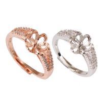 Messing einstellbare Fingerringe, plattiert, für Frau & mit kubischem Zirkonia, keine, frei von Nickel, Blei & Kadmium, 21x19x4mm, Größe:7.5-11, verkauft von PC