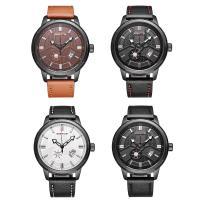 RISTOS® Uhrenkollektion, PU Leder, mit Glas & Edelstahl, schwärzen, einstellbar & für den Menschen, keine, 47x12.6mm, Länge:ca. 10 ZollInch, verkauft von PC