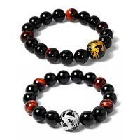 Tigerauge Armband, mit Schwarzer Achat, rund, verschiedene Größen vorhanden, keine, verkauft per ca. 7.6 ZollInch Strang
