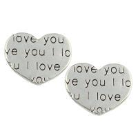 Zinklegierung Herz Perlen, antik silberfarben plattiert, mit Brief Muster, frei von Blei & Kadmium, 15x13x3mm, Bohrung:ca. 1.5mm, 500PCs/Tasche, verkauft von Tasche