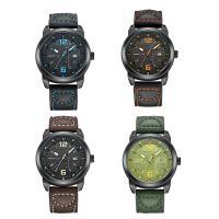 RISTOS® Uhrenkollektion, PU Leder, mit Glas & Edelstahl, schwärzen, einstellbar & für den Menschen, keine, 42x12mm, Länge:ca. 10 ZollInch, verkauft von PC