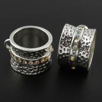 Zinklegierung Stiftöse Perlen, Ringform, antik silberfarben plattiert, mit Strass, frei von Blei & Kadmium, 16x26x21mm, Bohrung:ca. 2, 16mm, verkauft von PC