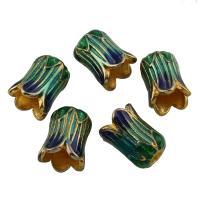 Zinklegierung Perlenkappe, Blume, goldfarben plattiert, Emaille, frei von Blei & Kadmium, 9x10x6mm, Bohrung:ca. 1mm, 10PCs/Tasche, verkauft von Tasche