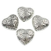 Verkupfertes Kunststoff-Perlen, Verkupferter Kunststoff, Herz, antik silberfarben plattiert, frei von Blei & Kadmium, 30x27x13mm, Bohrung:ca. 2.5mm, 10PCs/Tasche, verkauft von Tasche
