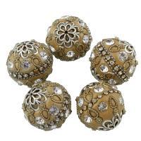 Indonesien Perlen, Zinklegierung, mit Indonesien, rund, plattiert, für Frau & mit Strass, frei von Blei & Kadmium, 24mm, verkauft von PC