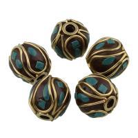 Indonesien Perlen, Zinklegierung, mit Indonesien, antike Bronzefarbe plattiert, für Frau, frei von Blei & Kadmium, 12.5mm, Bohrung:ca. 2mm, verkauft von PC