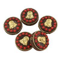 Indonesien Perlen, Zinklegierung, mit Indonesien & Harz, rund, antike Bronzefarbe plattiert, für Frau, frei von Blei & Kadmium, 19x11mm, Bohrung:ca. 2mm, verkauft von PC
