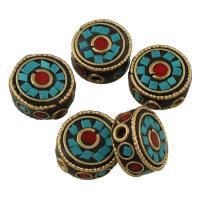 Indonesien Perlen, Zinklegierung, mit Indonesien & Harz, antike Bronzefarbe plattiert, für Frau, frei von Blei & Kadmium, 16x7mm, Bohrung:ca. 2mm, verkauft von PC