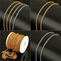 Edelstahl ovale Kette, mit Kunststoffspule, plattiert, Oval-Kette, keine, 5x4x1mm, 20m/Spule, verkauft von Spule