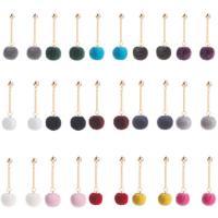 Flaumige Pom Pom Ohrringe, Zinklegierung, mit Plüsch, goldfarben plattiert, für Frau, keine, 15x17mm, verkauft von Paar