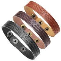 Kuhhaut Armband, Zinklegierung Druckknopf Verschluss, plattiert, mit Quermuster & unisex & einstellbar & mit Brief Muster, keine, 13mm, verkauft per ca. 8.7 ZollInch Strang