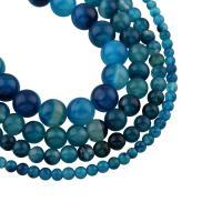 Natürliche Streifen Achat Perlen, rund, verschiedene Größen vorhanden, blau, Bohrung:ca. 1mm, verkauft per ca. 15 ZollInch Strang