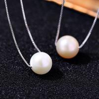 925 Sterling Silber Perlen Halskette, mit Natürliche kultivierte Süßwasserperlen, versilbert, natürliche & Kastenkette & für Frau, keine, 105mm, verkauft per ca. 18 ZollInch Strang