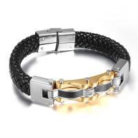 Titan Edelstahl Armband, Titanstahl, mit PU Leder, plattiert, für den Menschen, keine, 13mm, 14mm, Länge:ca. 9 ZollInch, verkauft von PC