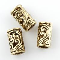Zinklegierung Rohr Perlen, Zylinder, antike Bronzefarbe plattiert, frei von Blei & Kadmium, 8.5x5mm, Bohrung:ca. 3mm, 100G/Tasche, verkauft von Tasche