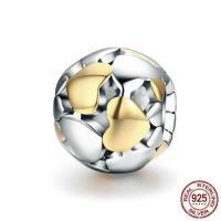 925 Sterlingsilber European Perlen, 925 Sterling Silber, rund, plattiert, ohne troll & zweifarbig & hohl, 11x9mm, Bohrung:ca. 4.5-5mm, verkauft von PC