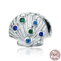 925 Sterlingsilber European Perlen, 925 Sterling Silber, Schale, ohne troll & mit kubischem Zirkonia, 10x12mm, verkauft von PC