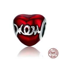 Thailand European Perlen, Herz, Wort mom, Mutter Tag Schmuck & ohne troll & Emaille, 11x11mm, Bohrung:ca. 4.5-5mm, verkauft von PC