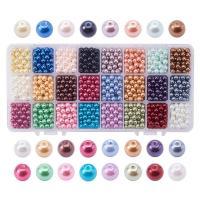 Glasperlen Perle, mit Kunststoff Kasten, rund, verschiedene Größen vorhanden, gemischte Farben, Bohrung:ca. 0.7-1.1mm, verkauft von Box