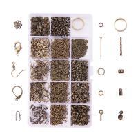 Eisen Anhänger Zubehör, mit Kunststoff Kasten, antike Bronzefarbe plattiert, gemischt, frei von Blei & Kadmium, 174x100x21.5mm, verkauft von Box