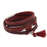 Kuhhaut Armband, mit Achat & Zinklegierung, silberfarben plattiert, Armband  Bettelarmband & für Frau & Multi-Strang, keine, 15mm, verkauft per ca. 15 ZollInch Strang