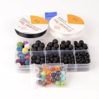 Lava Perle, mit elastischer Faden & Edelstein, gemischt, 4-10mm, 132x72x23mm, Bohrung:ca. 1mm, 321PCs/Box, verkauft von Box