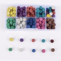 Natürliche Lava Perlen, mit Kunststoff Kasten, rund, gemischte Farben, 8mm, 132x72x23mm, Bohrung:ca. 1mm, 130PCs/Box, verkauft von Box