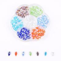 Kristall-Perlen, Kristall, mit Kunststoff Kasten, facettierte, gemischte Farben, 6x12mm, 105x105x25mm, Bohrung:ca. 1mm, 105PCs/Box, verkauft von Box