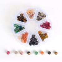 Mischedelstein Perlen, Edelstein, mit Kunststoff Kasten, gemischt, 8mm, 105x105x25mm, Bohrung:ca. 1mm, 80PCs/Box, verkauft von Box