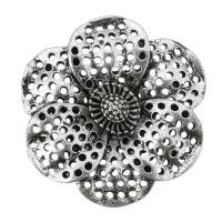 Blume Zinklegierung Schmuckverbinder, antik silberfarben plattiert, 2/2-Schleife & hohl, frei von Nickel, Blei & Kadmium, 30x30x7mm, Bohrung:ca. 2mm, 100PCs/Tasche, verkauft von Tasche