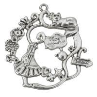 Zink-Legierung Cabochon Weissgold, Zinklegierung, antik silberfarben plattiert, mit Brief Muster, frei von Nickel, Blei & Kadmium, 40x41x3mm, Bohrung:ca. 2mm, Innendurchmesser:ca. 1,1.5mm, 100PCs/Tasche, verkauft von Tasche