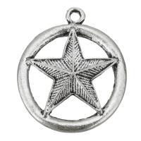 Zinklegierung Stern Anhänger, Pentagram, antik silberfarben plattiert, frei von Nickel, Blei & Kadmium, 28x33x4mm, Bohrung:ca. 2mm, 200PCs/Tasche, verkauft von Tasche