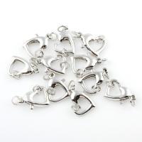 Messing Karabinerverschluss, Herz, Platinfarbe platiniert, frei von Blei & Kadmium, 13x9x3mm, 50PCs/Tasche, verkauft von Tasche
