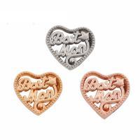 Mode Zinklegierung Gleiten Charme, Herz, plattiert, mit Brief Muster, keine, frei von Blei & Kadmium, 15x14x5mm, verkauft von PC