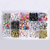 Gemischte Acrylperlen, Acryl, mit Kunststoff Kasten, 4-10mm, Bohrung:ca. 1mm, ca. 1100PCs/Box, verkauft von Box