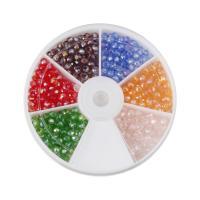 Kristall-Perlen, Kristall, mit Kunststoff Kasten, verschiedene Stile für Wahl, gemischte Farben, 4mm, 80mm, Bohrung:ca. 1mm, ca. 300PCs/Box, verkauft von Box