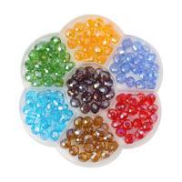 Rondell Kristallperlen, Kristall, mit Kunststoff Kasten, gemischte Farben, 8mm, 100x100x20mm, Bohrung:ca. 1mm, ca. 140PCs/Box, verkauft von Box