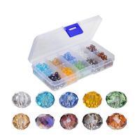 Rondell Kristallperlen, Kristall, mit Kunststoff Kasten, facettierte, gemischte Farben, 6mm, Bohrung:ca. 1mm, ca. 500PCs/Box, verkauft von Box