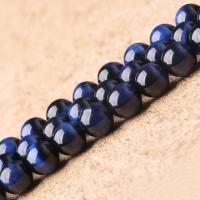 Tigerauge Perlen, rund, natürlich, verschiedene Größen vorhanden, blau, verkauft per ca. 15.7 ZollInch Strang