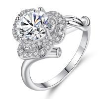 Oostenrijkse kristalring, Messing, mit Österreichischer Kristall, Rose, platiniert, verschiedene Größen vorhanden & für Frau & facettierte & mit Strass, frei von Nickel, Blei & Kadmium, verkauft von PC