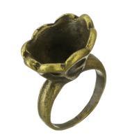 Zinklegierung Ringschiene, Blume, antike Bronzefarbe plattiert, frei von Nickel, Blei & Kadmium, 15mm, Innendurchmesser:ca. 15x11mm, Größe:6, 200PCs/Tasche, verkauft von Tasche