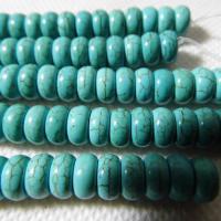 Türkis Perlen, Synthetische Türkis, flache Runde, natürlich, verschiedene Größen vorhanden, grün, verkauft per ca. 15.7 ZollInch Strang