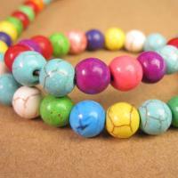 Türkis Perlen, Synthetische Türkis, rund, natürlich, verschiedene Größen vorhanden, gemischte Farben, verkauft per ca. 15.7 ZollInch Strang