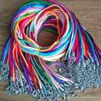 Gewachsten Baumwollkordel Halskette Schnur, für Frau, gemischte Farben, 3mm, Länge:ca. 17.7 ZollInch, 60PCs/Menge, verkauft von Menge