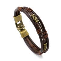 Lederband Armband, Leder, mit Baumwolle Schnur & Zinklegierung, mit Verlängerungskettchen von 7.8Inch, antike Bronzefarbe plattiert, für den Menschen, keine, Länge:ca. 8.7 ZollInch, 10SträngeStrang/Menge, verkauft von Menge