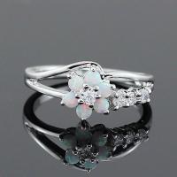 Zinklegierung Fingerring, mit Opal, silberfarben plattiert, verschiedene Größen vorhanden & für Frau & mit Strass, keine, verkauft von PC